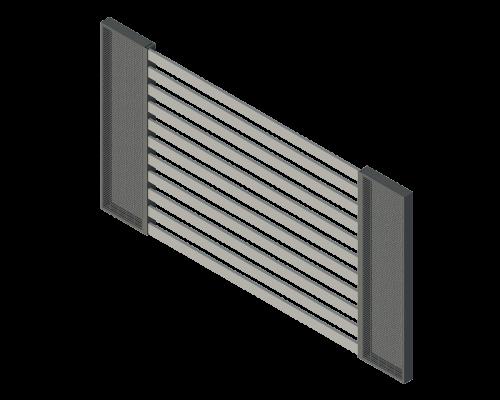aksonometria ogrodzenia palisadowego na gabionach