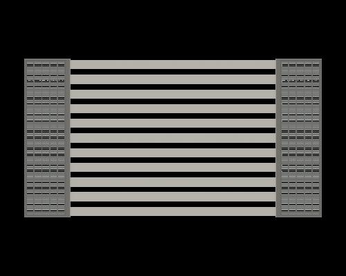 ogrodzenie z profili 80x20 na słupach gabionowych