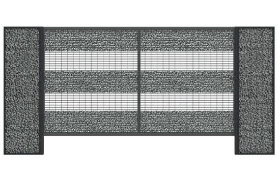 zestawienie gabionowego rozwiązania ogrodzenia