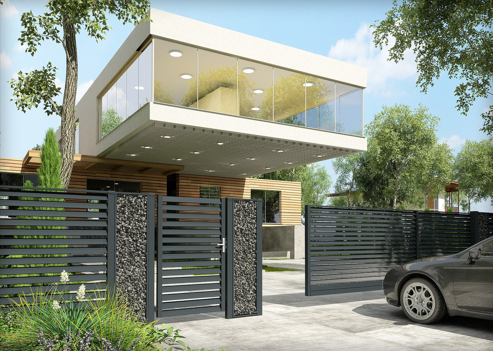 minimalistyczne ogrodzenie panelowo gabionowe