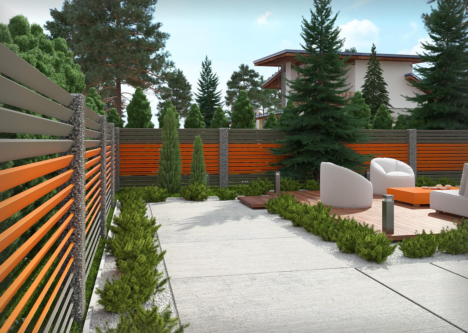 nowoczesny ogród ogrodzony nowoczesnym płotem żaluzja