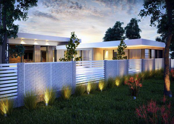 zastosowanie systemu gabionowego jak i paneli palisadowych w ogrodzeniu
