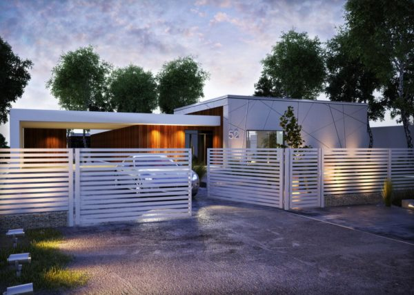 palisadowe ogrodzenie z gabionową podmurówką nowoczesne rozwiązanie płotu